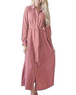 a93a2b13a13 Geckatte Womens Button Down Dresses Casual Fall Long Sleeve Collar Belt  Split Shirt Maxi Dress