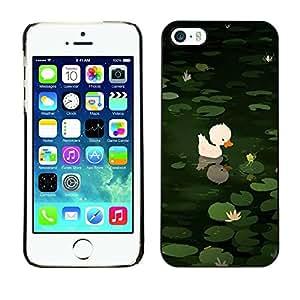 FECELL CITY // Duro Aluminio Pegatina PC Caso decorativo Funda Carcasa de Protección para Apple Iphone 5 / 5S // Sweet Cute Pond Drawing Green Animal