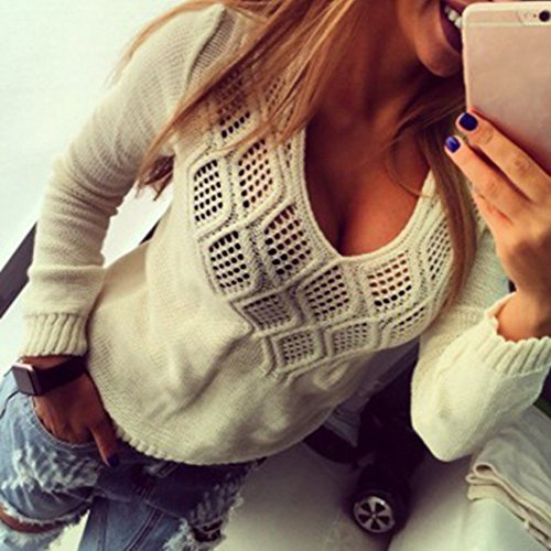 Pullover Automne Casual Tops Sfit Printemps Sweater pour Tricots Longues Femme Manches Beige Pull Hiver cPqZPSHwY