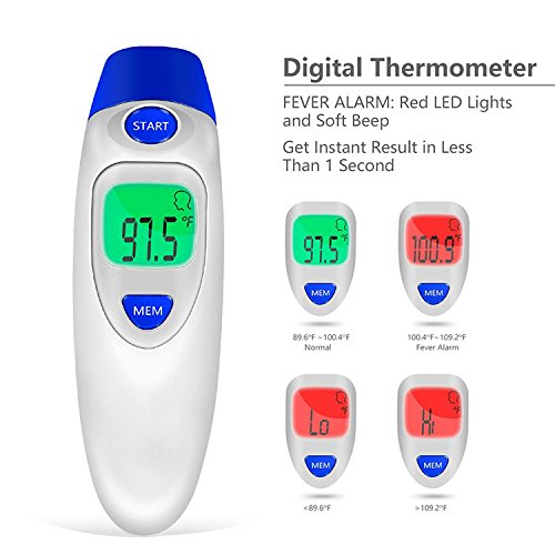Termómetro de oreja y frente de bebé 4 en 1. 4 modos de medición, termómetro médico digital para bebés y adultos, con memoria y advertencia de fiebre ...