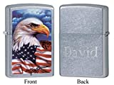 Personalized Zippo Mazzi American Eagle Street Chrome Lighter with Free Engraving