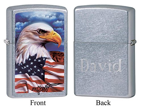 American Eagle Airbrushed - Personalized Zippo Mazzi American Eagle Street Chrome Lighter with Free Engraving