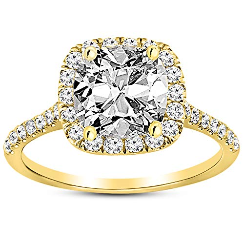 2.5 Ctw 14K Yellow Gold Halo Diamond Engagement Ring Cushion Cut (2 Ct G Color SI1 Clarity Center Stone)