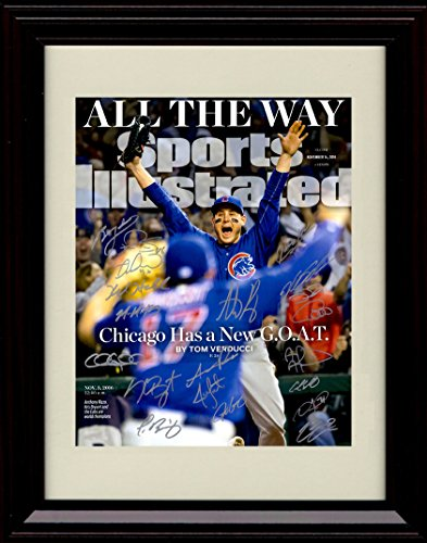 (Framed Anthony Rizzo and Kris Bryant SI Autograph Replica Print - 2016 Champs! - Team)