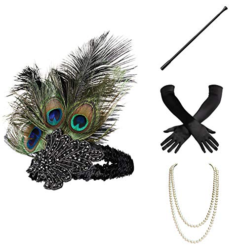 BABEYOND 1920s Flapper Gatsby Costume Accessories Set 20s Flapper Headband Pearl Necklace Gloves Cigarette Holder -