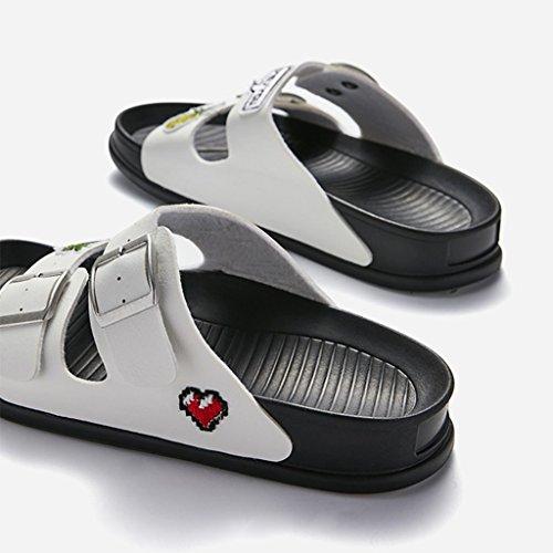 Casuale Pantofole Bianca Leggero 35 Di E 38 Piatte Metri Bottone Adesivi Pantofola Sandali Femmina Divertenti JIANXIN Confortevole Metallo 0Eq8gw