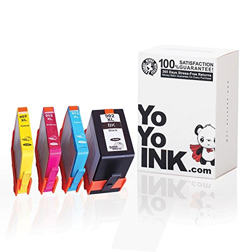 YoYoInk Remanufactured Ink Cartridge Replacement for HP 902XL 902 High Yield (1 Black, 1 Cyan, 1 Magenta, 1 Yellow; 4-Pack)