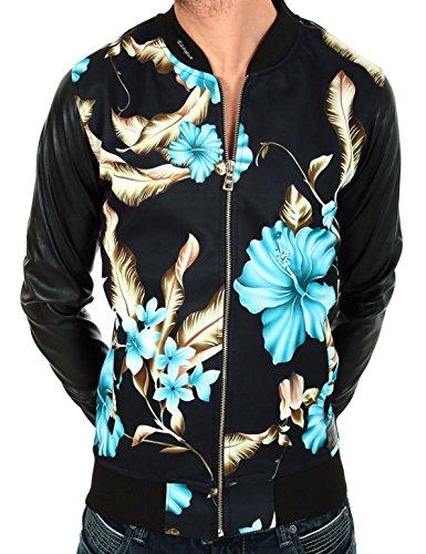 Giacca Felpa Teddy nero stampato fiori blu impossibile 55della marca Celebry Tees