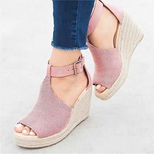 Minetom Sandals Eleganti Scarpe Rosa Traspirante Shoes Donna Estivi Sandali Moda Piattaforma Romani Fibbia Casual Zeppa RxrnvRq