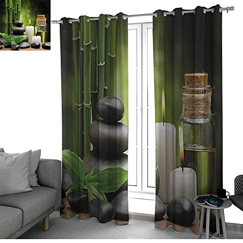 bybyhome Spa Decor Room Divider Curtain Screen Partitions Hot Massage Rocks Combined with Candles and Scents Landscape of Bamboo Window Decor Green White and Black W84 x L84 Inch