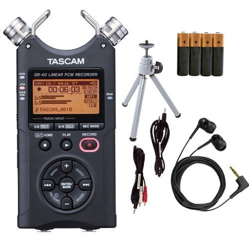 Tascam DR-40 Digital Audio Recorder Bundle - Tripod, Earbuds by Tascam