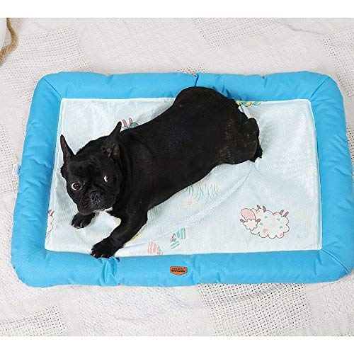 Kennel Pads Dog Beds Pet Bed Blankets Summer Pet Dog Mat Bed Dog Puppy Cooling Mat Pad Cushion Bed for Pitbull Dog House Kennel Nest(bluee,L) Cat Bed Pet Supplies Cover