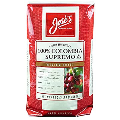 Jose's Whole Bean Coffee Columbia Supremo 3 Lbs by Unknown