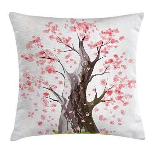 Far Eastern Decor (Nature Throw Pillow Cushion Cover by Ambesonne, Ancient Big Sakura Tree in Full Blossom Seasonal Far Eastern Nature Artwork, Decorative Square Accent Pillow Case, 26 X 26 Inches, Pink Black Green)