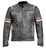 Men's Vintage Motorcycle Cafe Racer Retro Moto Distressed Leather Jacket