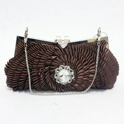 0926-2 brown Satin Handmade Evening Prom Handbag Purse Clutch Bag with Crystal