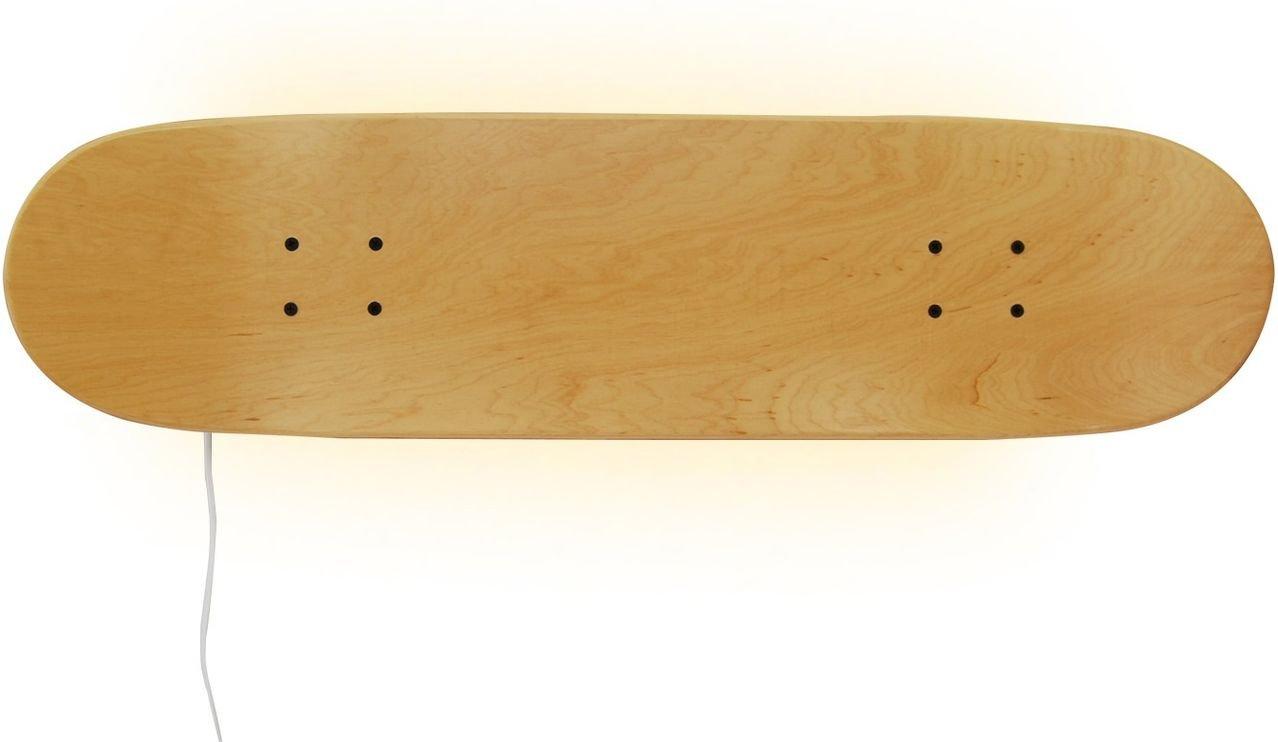 Casper Skateboard themed Leds Wall Lamp, natural wood color. Light, Home Decor for Bedroom Sports Fan Children's. Natural