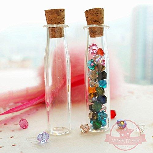 2 pcs Miniature Tiny Glass Bottles Vials w/ corks Jars Dollhouse Food Craft