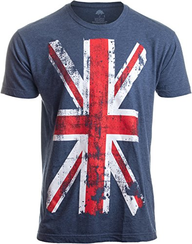 Union Jack Flag | UK United Kingdom Great Britain British for Men Women T-Shirt-(Adult,L) Vintage Blue -