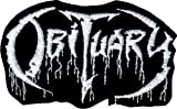 Obituary - Black & White Logo - Embroidered Iron On or Sew On Patch