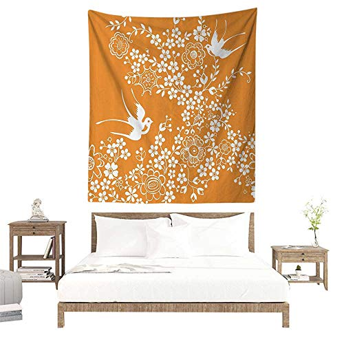 - alisoso Wall Tapestries Hippie,Japanese,Oriental Floral Japanese Style Flying Birds Asia Pastel Colored Spring Pattern,Marigold White W70 x L93 inch Tapestry Wallpaper Home Decor