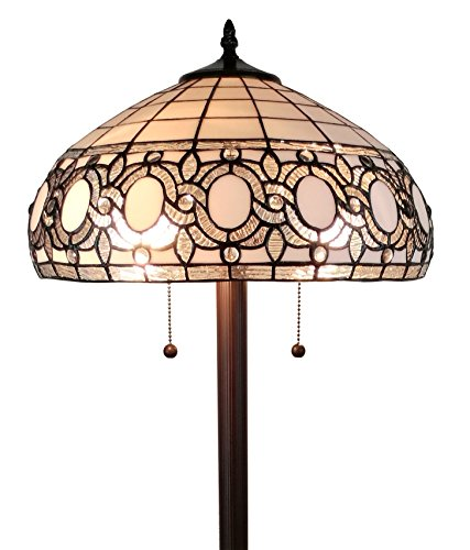 Floral Stained Glass Floor Lamp - Amora Lighting AM232FL16 Tiffany Style Floral White Floor Lamp, 62