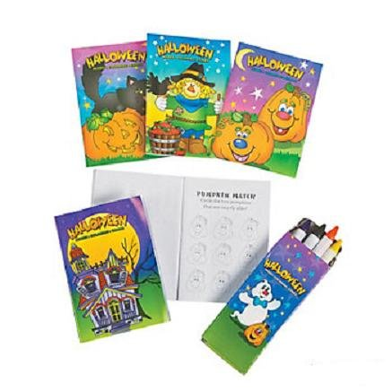 12 ~ Halloween Activity Sets ~ Each Includes Mini Activity Pad and Box of 4 Crayons ~ New / Individually Packaged ()