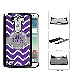 Purple and White Chevron Pattern with Gray and Purple Monogram in Center Hard Snap on Plastic Cell Phone Cover (LG G3 VS985)