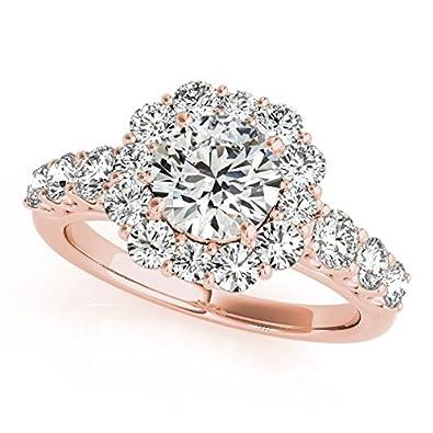 Diamond Frame Engagement Ring, Flower Design 14k Rose Gold 2.10ct ...