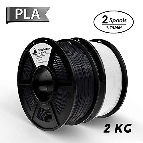 PLA Filament, 3D Hero PLA Filament 1.75mm,PLA 3D Printer Filament, Dimensional Accuracy +/- 0.02 mm, 2KGS,1.75mm Filament,Black & White