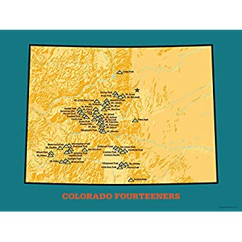 Amazoncom Colorado Ranked Ers Map X Poster Butter - 14ers map us