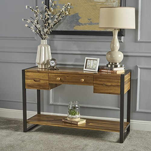 Laila Wood Console Table | Industrial, Rustic Design | Metal Accents | Three Drawers | Acacia Wood with a Natural Stain