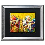 Trademark Fine Art Dance of the Longhorns by Marion Rose, Black Matte, Silver Frame 16x20-Inch