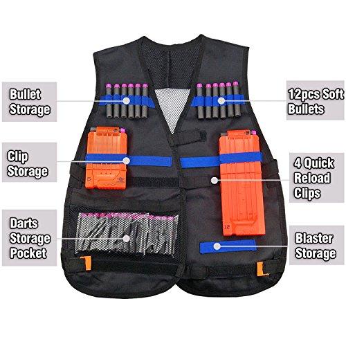Image is loading Elite-Tactical-Vest-Kids-Gun-Foam-Dart-Clip-
