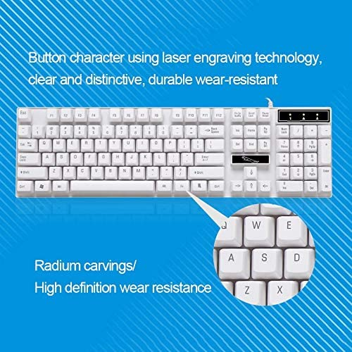 PC ZGB Q17 104 Keys USB Wired Suspension Gaming Office Keyboard for Laptop Color : White