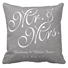 Gray White Linen Mr. and Mrs. Wedding Throw Pillow Case Sofa or Car Cushion