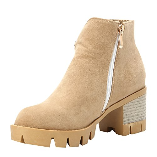Ankle Block Womens Latasa Suede Faux Beige Latasa Womens Heel Boots qwSX00