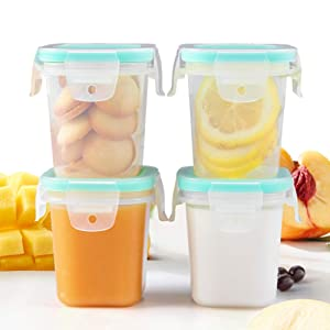 Matyz 4 Ounce Baby Food Storage Containers with Airtight Lids & Stackable Tray (Set of 4, Mint Green) - Microwave Freezer Dishwasher Safe - Medium Size Square Container for Easily Portion - BPA Free