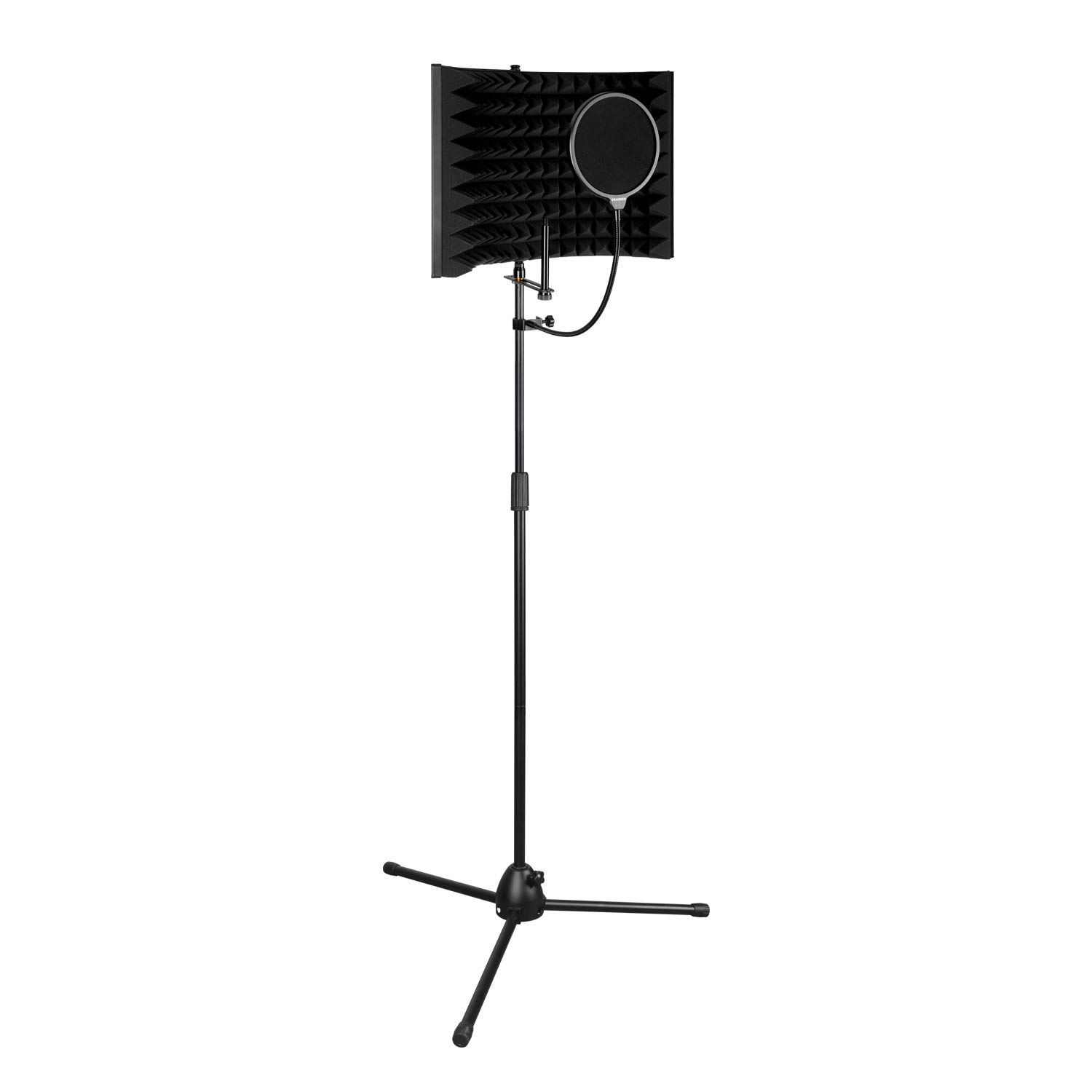 Aokeo Premium Microphone Isolation Shield, Foldable Adjustable Studio Recording Microphone Isolator Panel, Constructed with Industrial Quality Aluminum, With AK-107 Tripod Stand And Premium Pop Filter