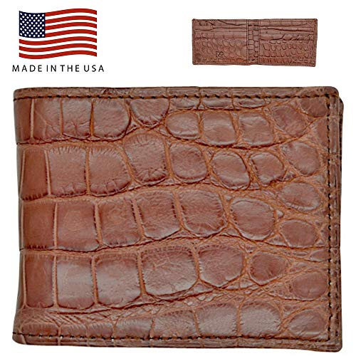 Cognac Genuine Alligator RFID Wallet - Alligator Inside and Out RARE - Factory Direct - Made in USA by Real Leather Creations FBA299
