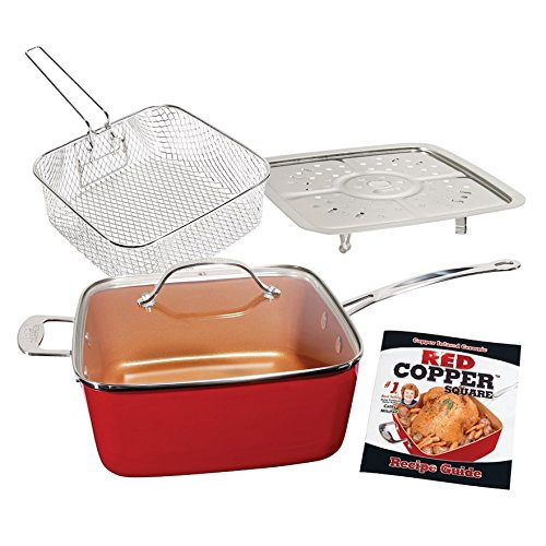 5-Piece 10-Inch Square Pan Set - Red Copper