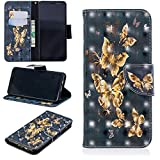 Ostop Samsung Galaxy A8 2018 Wallet Case,3D Cute Printed Pattern Leather Case Kickstand Card Holder Magnetic Flip Folio Cover,Gold Butterfly Black PU