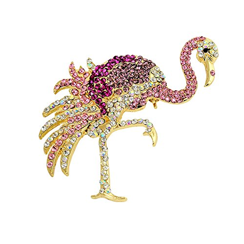 - Pink Flamingo Brooch Crystals Pin or Pendant