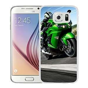 NEW Unique Custom Designed Samsung Galaxy S6 Phone Case With Kawasaki Ninja ZX 14 Light Green_White Phone Case
