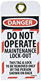 NMC LOTAG33 DANGER - DO NOT OPERATE MAINTENANCE LOCK-OUT Lockout Tag, Unrippable Vinyl, 3'' Length, 6'' Height, Black/Red on White (Pack of 10)