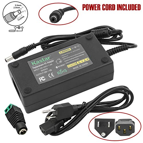 Kastar AC Adapter, Power Supply LCD 12V 5A 60W for Benq LCD Monitor FP2081 FP450 FP547 FP553 FP557 FP563 FP567 FP581 FP581 FP591 FP731, 5050 3528 RGB LED Strip Light, Dell S2440L S2440Lb LCD Monitor