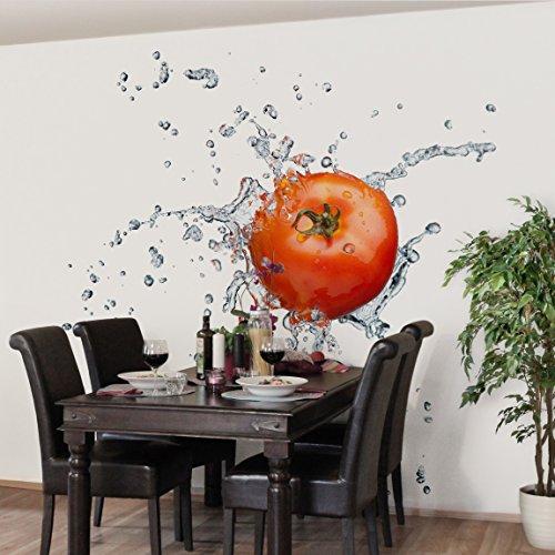 Apalis Vliestapete Küchentapete Frische Tomate Fototapete Quadrat, größe, 192 x 192 cm, rot, 97680
