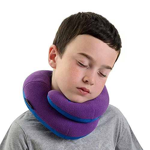 BCOZZY Kids Chin Supporting Travel Neck Pillow - Supports the Head, Neck and Chin in Maximum Comfort. A Patented Product. CHILD Size, PURPLE