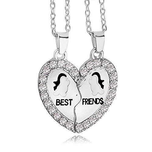 Animal Rhinestone Necklace (White Rhinestone Best Friends Animal Split Heart Pendant Friendship Necklace Set of 2(Penguins))