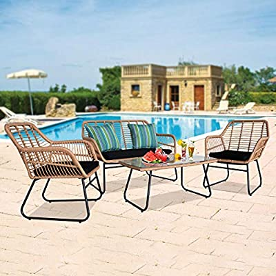Outdoor Rattan Patio table and Chairs Flaxen Yellow 4PCS